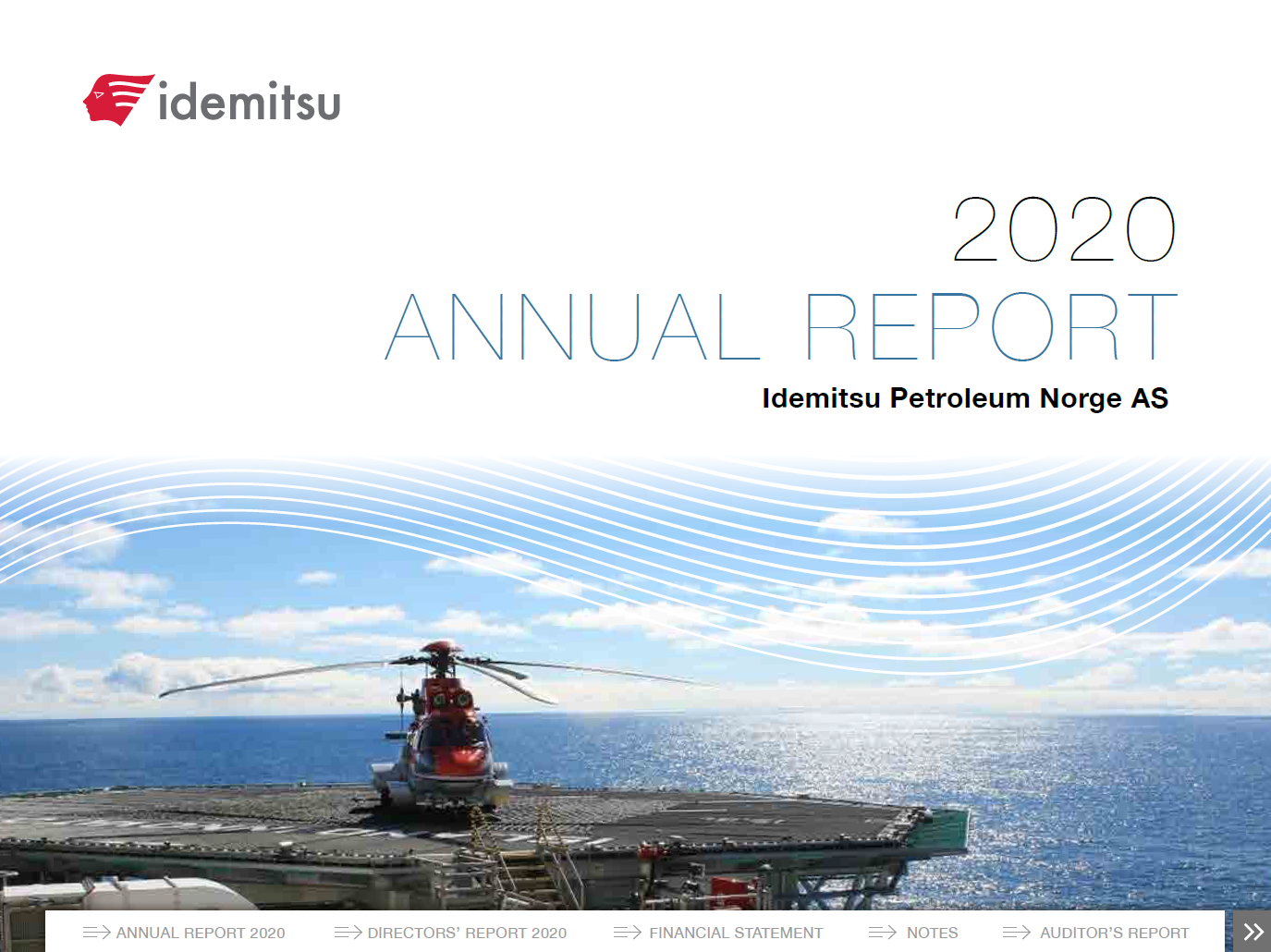 Annual report frontpage 2020 Idemitsu Petroleum Norge, helicopter on rig
